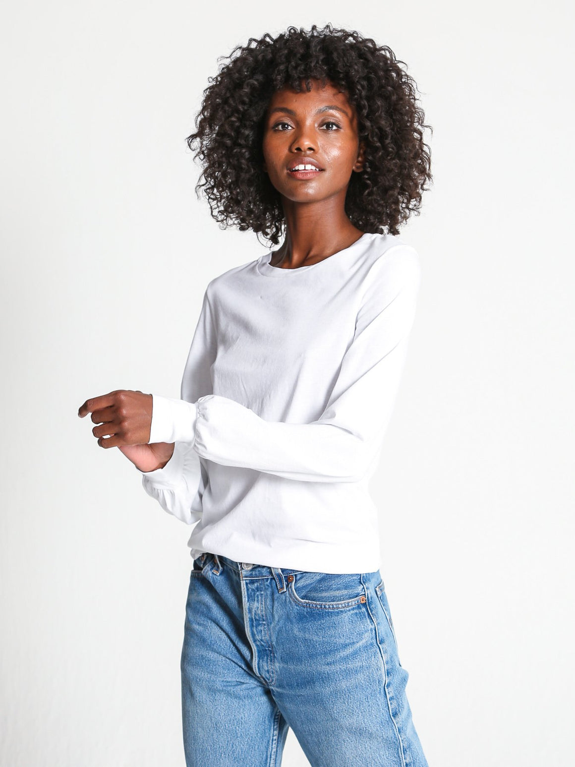 Bambina Long Sleeve Top - White