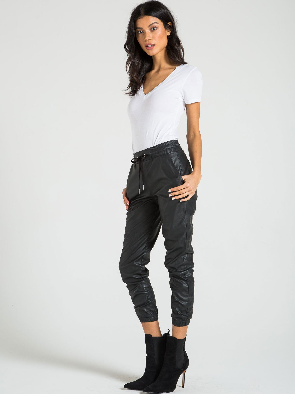 Scarlett Leather Jogger - Black Cat