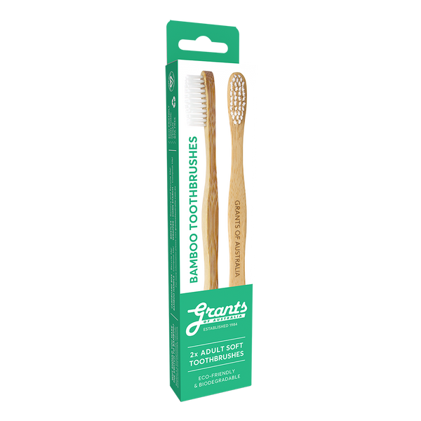Twin Pack Adult Bamboo Toothbrush - Soft