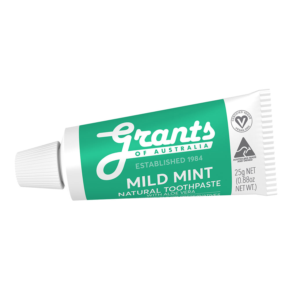 Mild Mint Natural Toothpaste - Fluoride Free - Travel Size - 25g