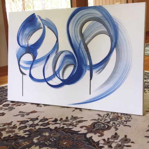 "Abstract Blue Swirl ""24x36"""