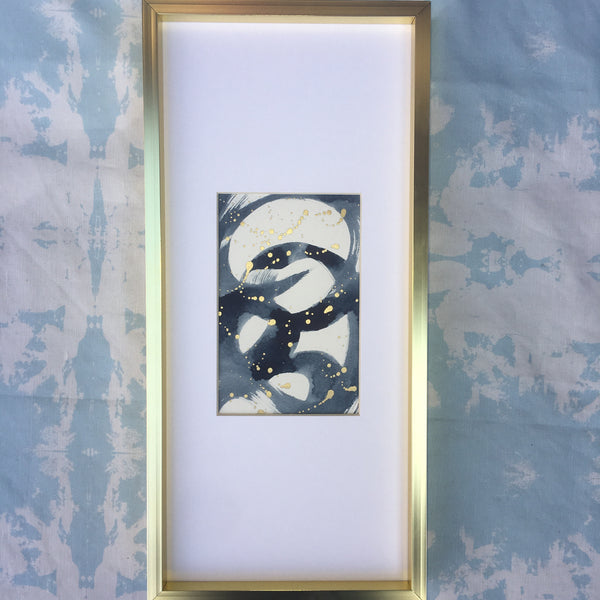 "Framed Original Painting Navy and Gold ""15x7"""