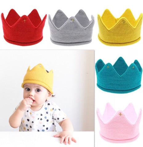 Baby Knitted Crown Headband / Choice of colour