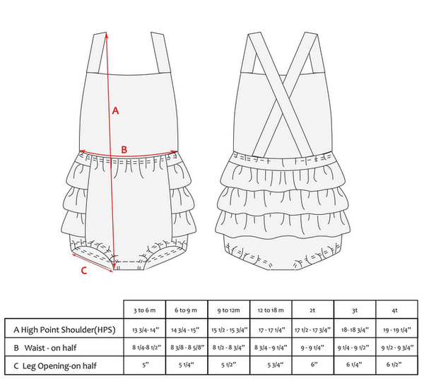 infant girls sunsuit sizing