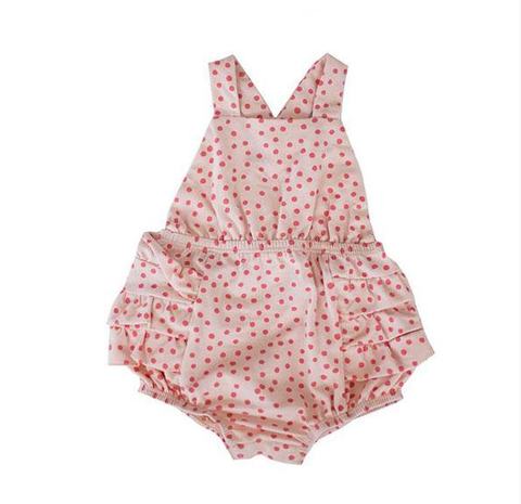 infant girls pink polka dot one-piece ruffle sunsuit
