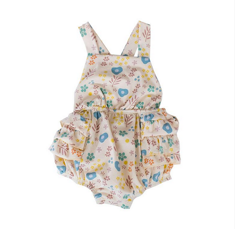 infant girls floral one-piece ruffle sunsuit