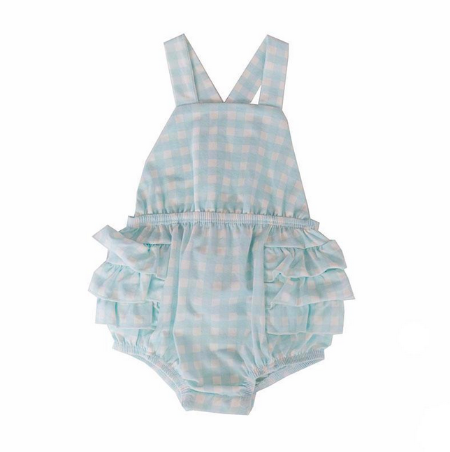 infant girls blue gingham one-piece ruffle sunsuit