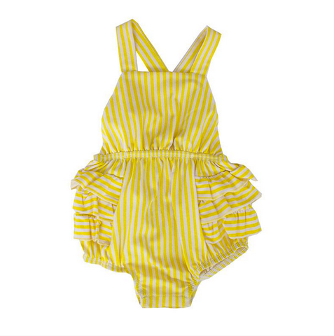 infant girls yellow stripe one-piece ruffle sunsuit