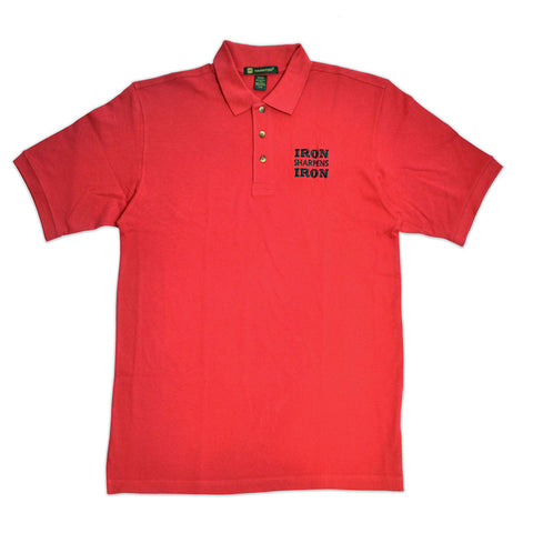 Iron Sharpens Iron Red Embroidered Polo