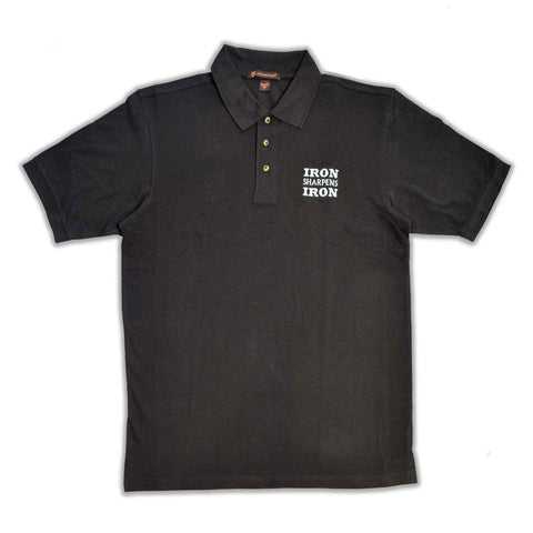 Iron Sharpens Iron Black Embroidered Polo