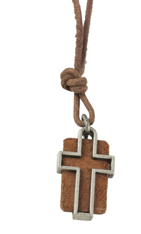 Leather Slot Cross Christian Necklace