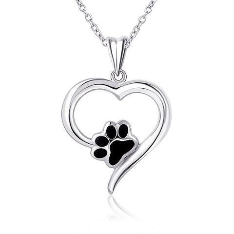 I Heart Dogs Sterling Silver Necklace