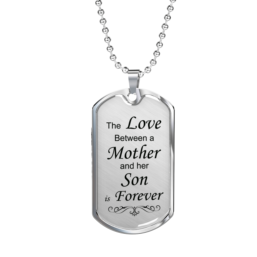 Mother Son Forever Dog Tag Necklace