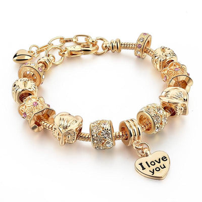 "Gold Heart Charm ""I Love You"" Bracelet"