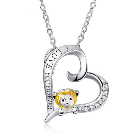 I Love You Forever Lion Sterling Silver Necklace
