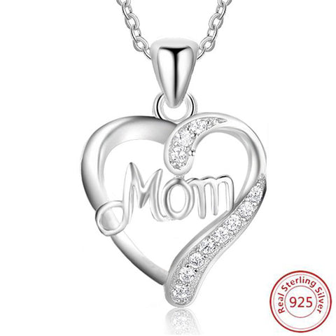 mom silver heart necklace