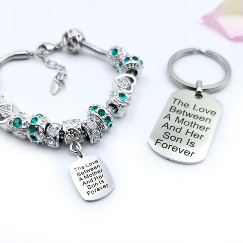 Mother Son Eternal Love Bracelet & Keychain Set