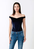 Velvet Off-Shoulder Bodysuit