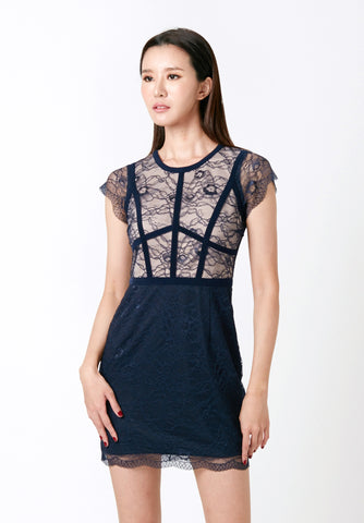 Pressed Lace Peplum Dress