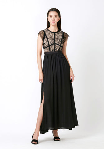 Mixed Fabric Lace Dress