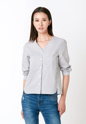 Lace Sleeved Gingham Blouse