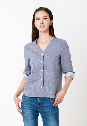 Gingham Cheongsam Top