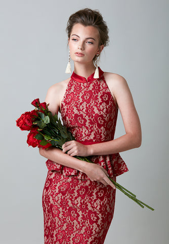 Lace Cut-Out Cheongsam
