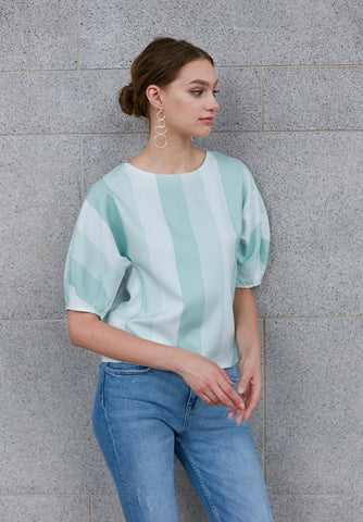 Asymmetric Mixed Fabric Blouse (Limited Edition)