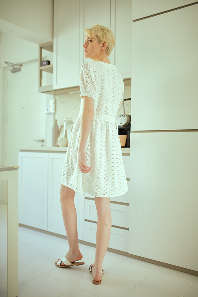 Eyelet Buttoned Dress