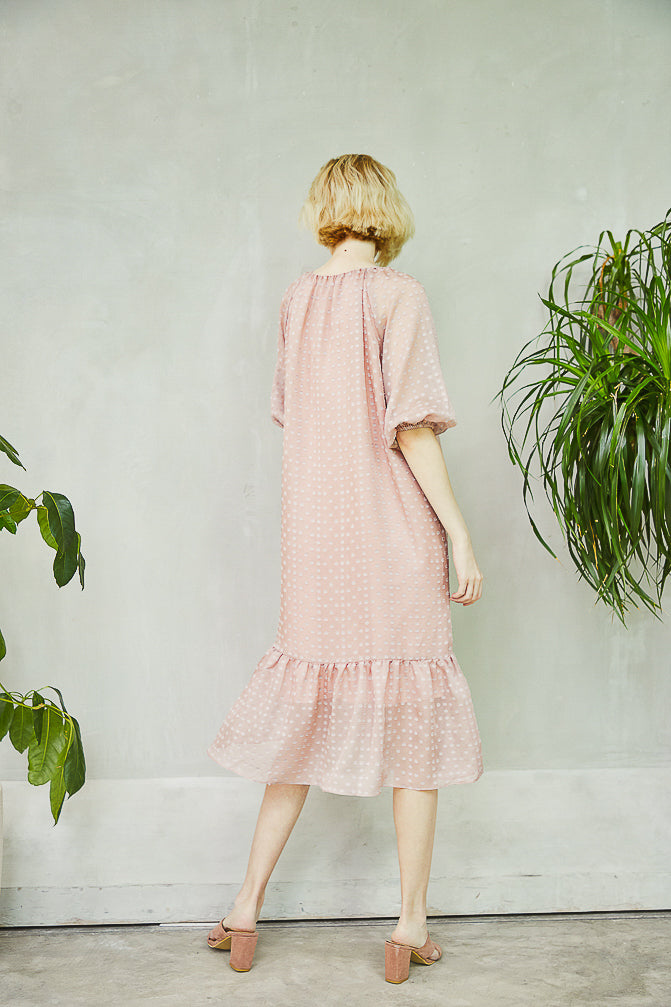Cloud Dress with velvet dots