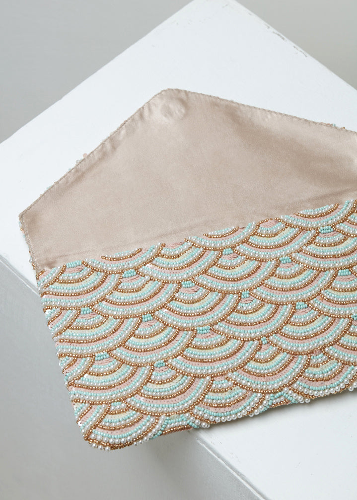 Pink Riviera Beaded Clutch (Pre-order)