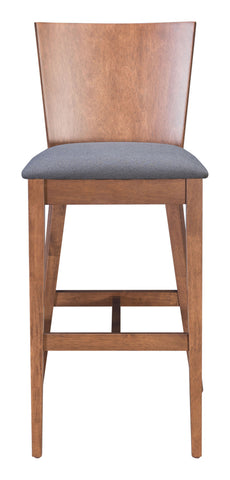 Image of Ambrose Bar Chair (Set of 2) Walnut & Gray