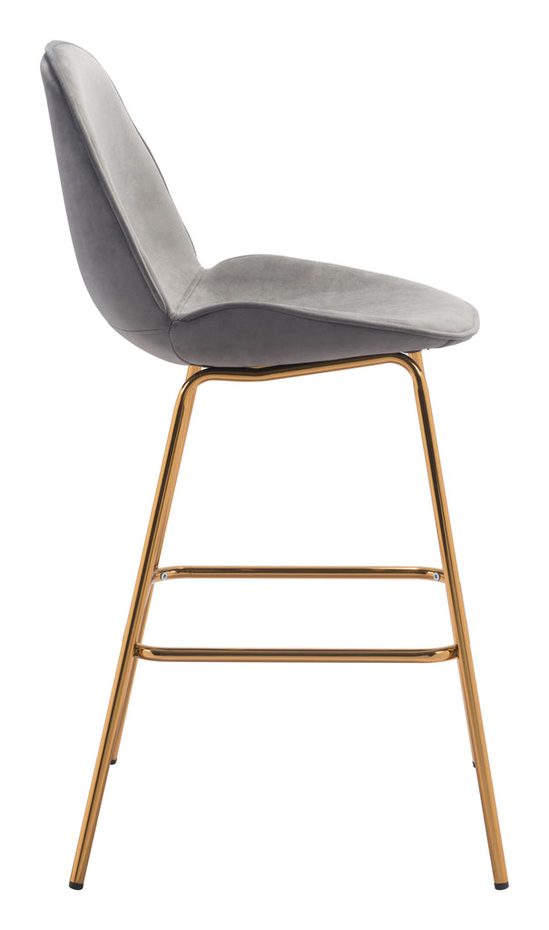 Siena Bar Chair (Set of 2) Gray & Gold