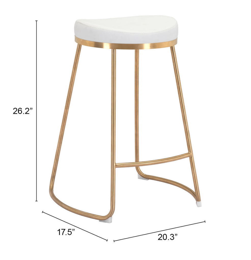 Bree Counter Stool (Set of 2) White & Gold