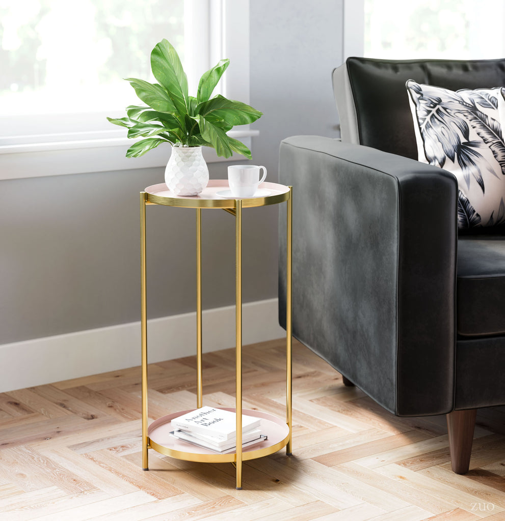 Jenna Side Table White & Gold
