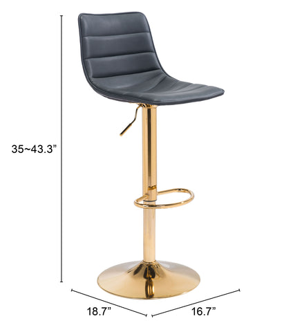 Prima Bar Chair Black & Gold