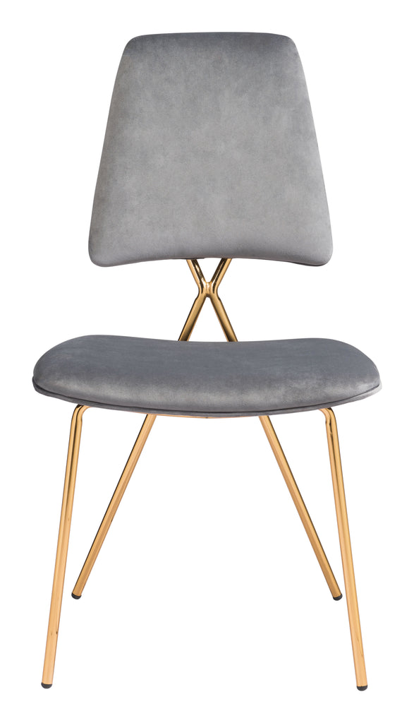 Chloe Dining Chair (Set of 2) Gray & Gold