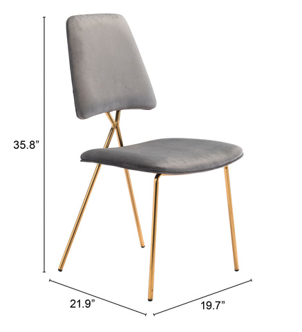 Image of Chloe Dining Chair (Set of 2) Gray & Gold