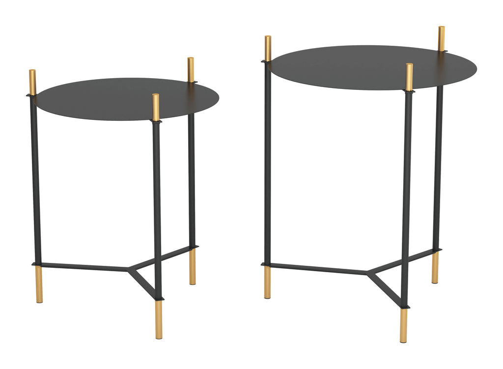 Set of 2 Jerry Side Tables Black & Gold