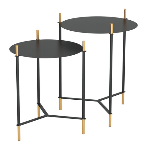 Image of Set of 2 Jerry Side Tables Black & Gold