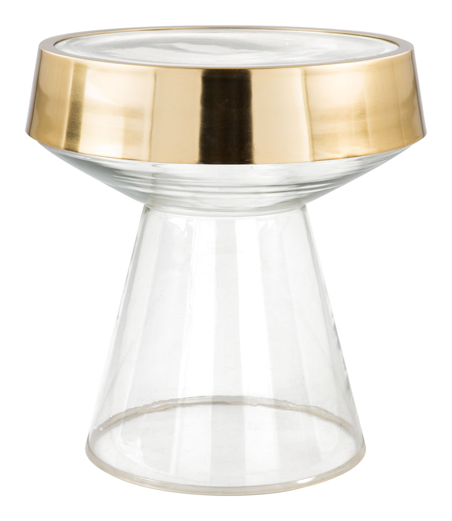 Skya Side Table Clear & Gold