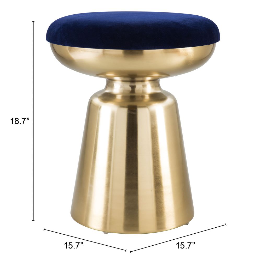 Juniper Side Stool Blue & Gold
