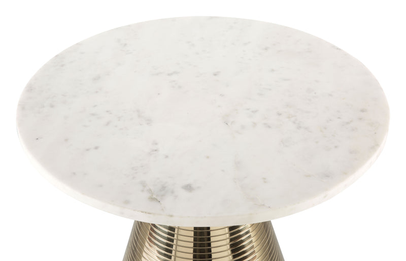 Pure Marble Side Table White & Gold