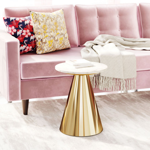 Image of Pure Marble Side Table White & Gold