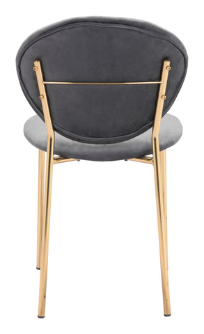 Image of Clyde Dining Chair (Set of 2) Dark Gray & Gold