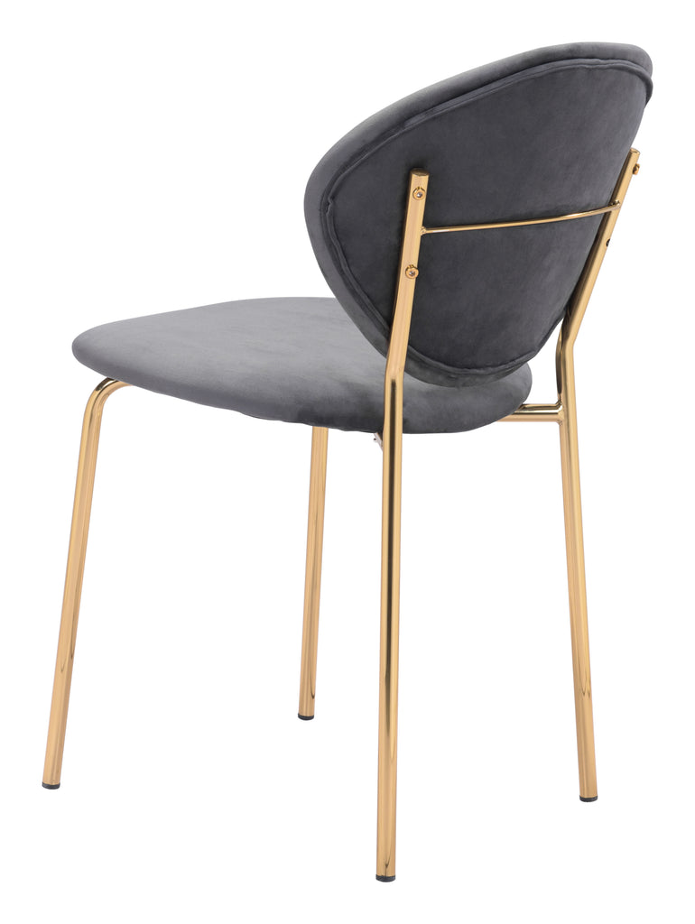 Clyde Dining Chair (Set of 2) Dark Gray & Gold