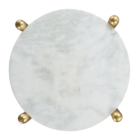 Image of Mina Side Marble Table White & Gold