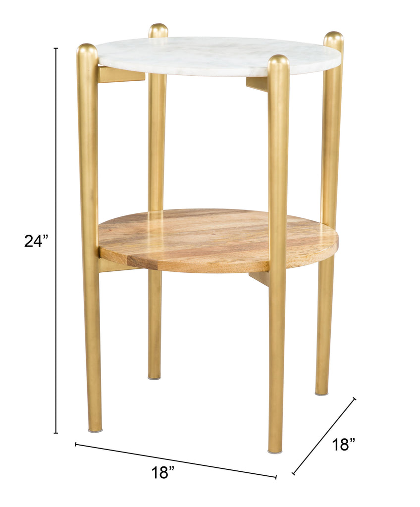 Mina Side Marble Table White & Gold