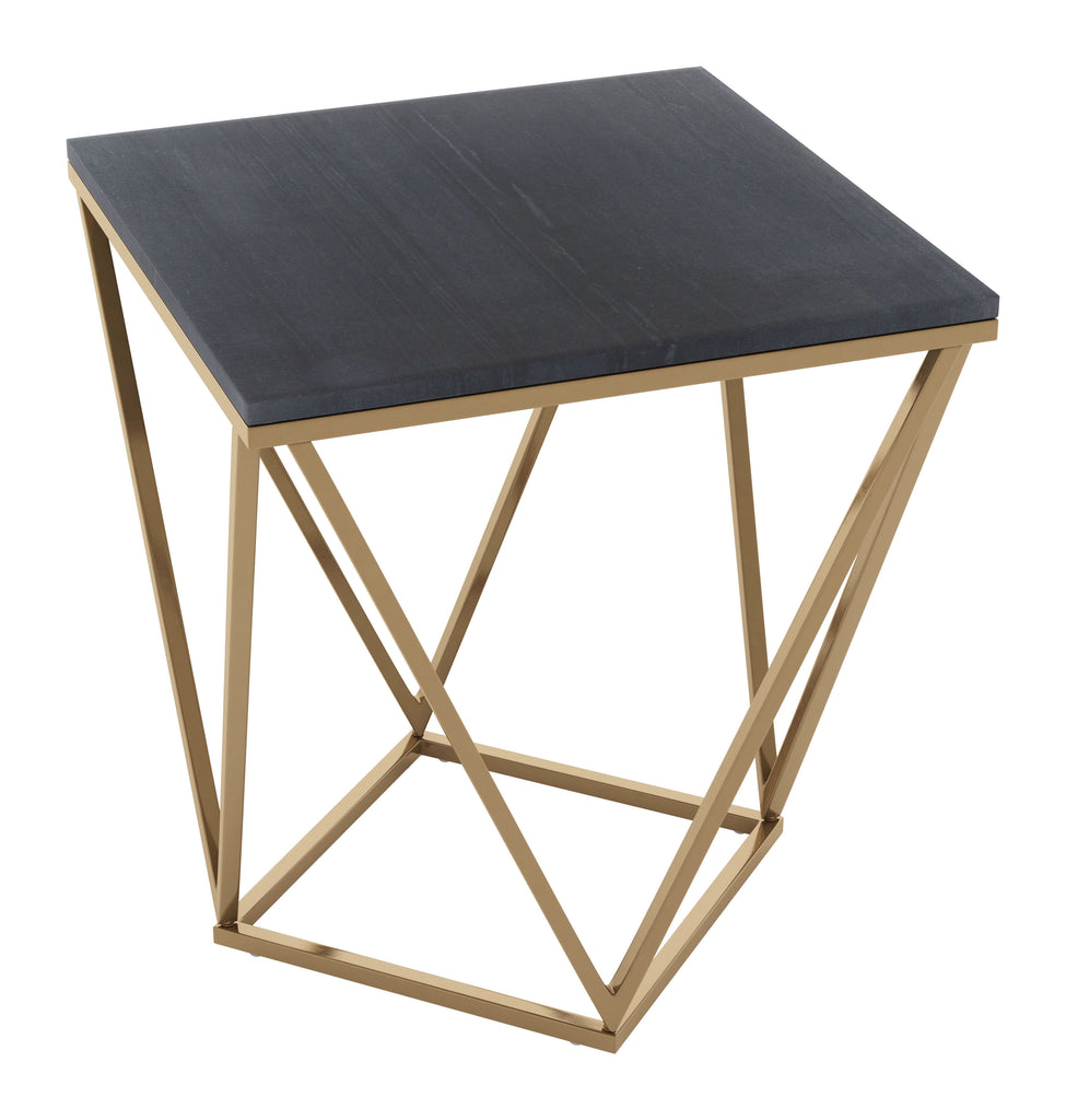 Verona Marble Side Table Black & Gold