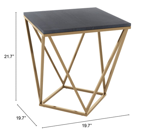 Image of Verona Marble Side Table Black & Gold